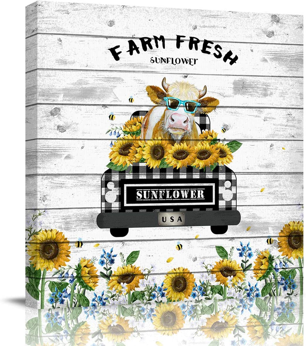 Canvas Prints Wall Art Paintings 12x12 inches Vintage Farm Buffalo Check Plaid Truck with Cow Sunflower Artworks for Living Room Bedroom Decoration Home Kitchen Bathroom Wall Decor Posters