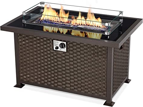 Amazon Com U Max 44in Outdoor Propane Gas Fire Pit Table 50 000 Btu Auto Ignition Gas Firepit With Glass Wind Guard Black Tempered Glass Tabletop Blue Glass Rock Brown Pe Rattan Csa Certification Garden