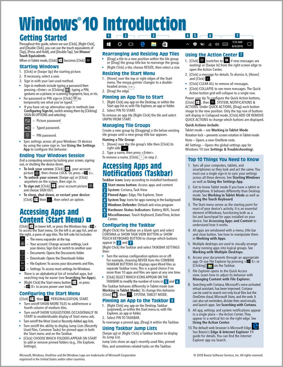 Windows 10 Introduction Quick Reference Guide (Cheat Sheet of Instructions,  Tips & Shortcuts - Laminated) Updated Summer 2018: Beezix Inc:  9781944684518: ...