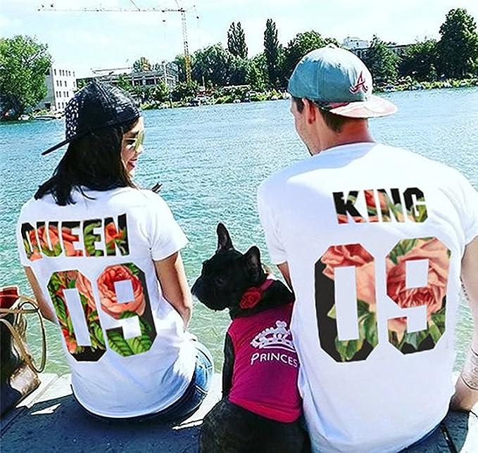 Queque Shine Camiseta King Queen T-Shirt Impresión 09 Piezas de Manga Corta Rey Reina Regalo de Camisa Casual para Amante: Amazon.es: Ropa y accesorios
