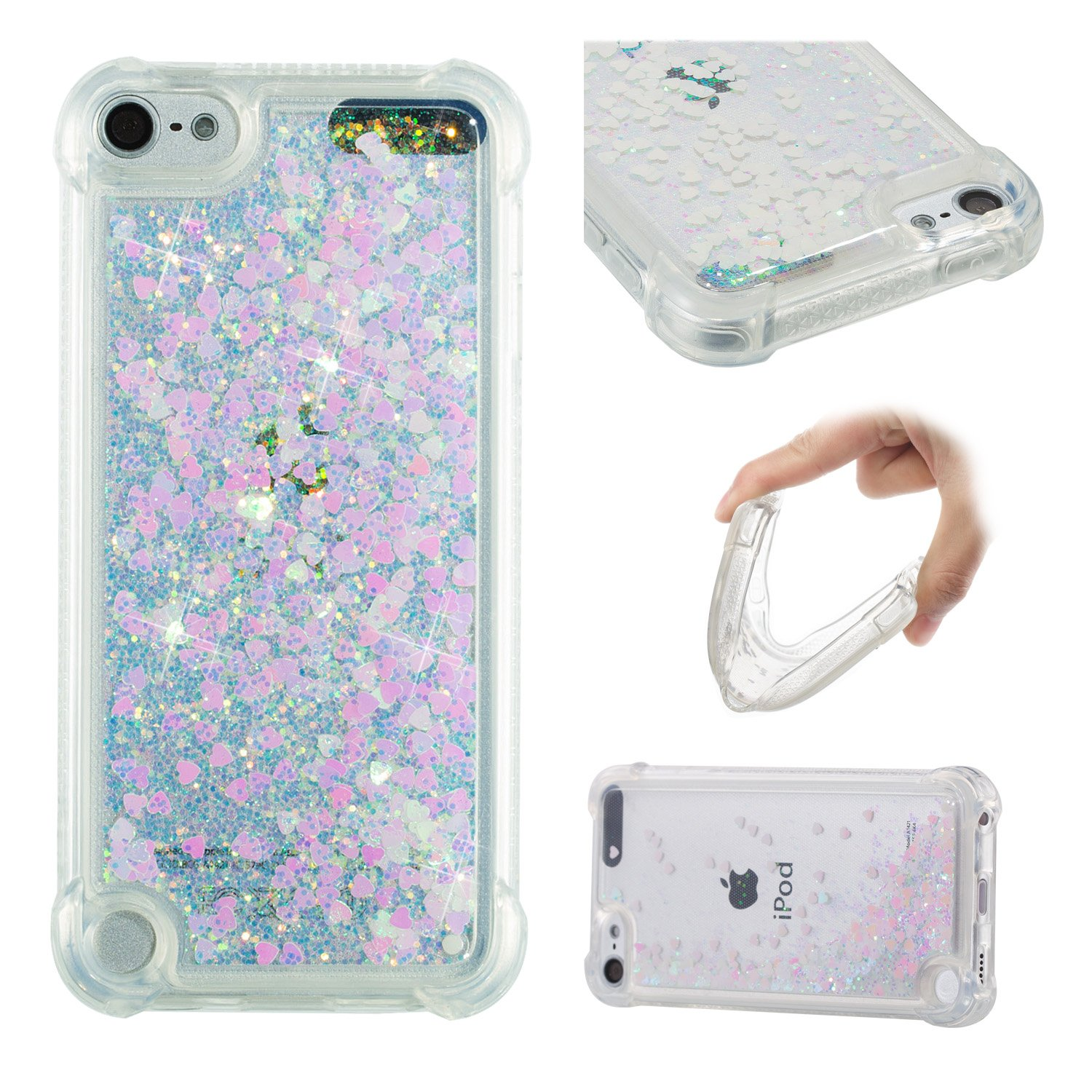 iPod Touch 6 Case, Touch 5 Case, Dynamic Liquid Quicksand Case Funny Face Pattern Bling Sparkle Shining Glitter Soft Clear TPU Gel Protective Cover For Apple iPod Touch 5 6th Generation candy house wh1988