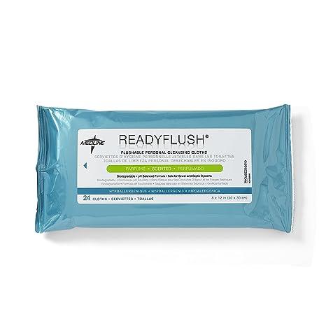 Medline Readyflush Biodegradable Flushable toallitas limpiasalpicaderos con efecto mate, para cama de matrimonio 24