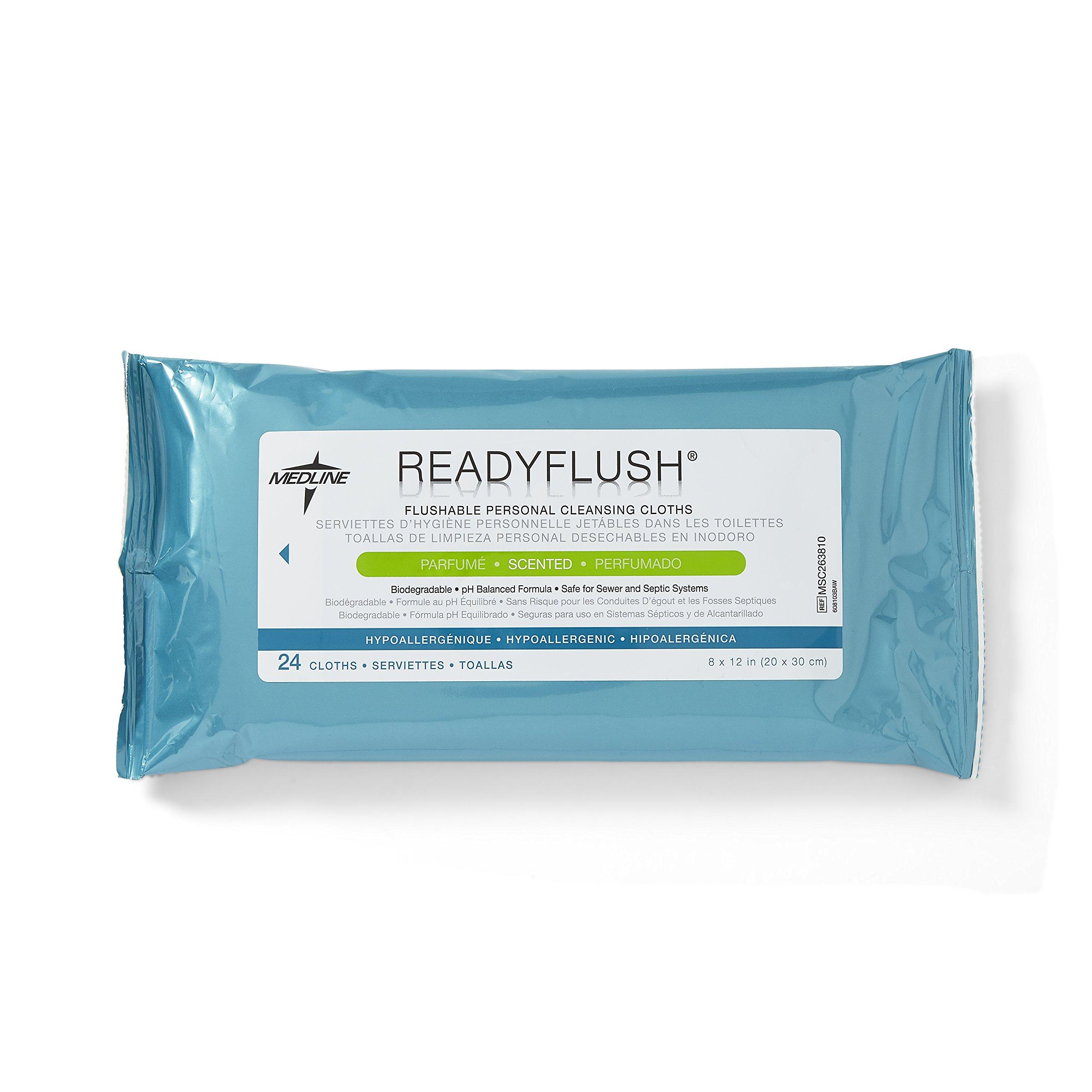 Medline Readyflush Biodegradable Flushable Wipes, 576 wipes (24 pack of 24 wipes)