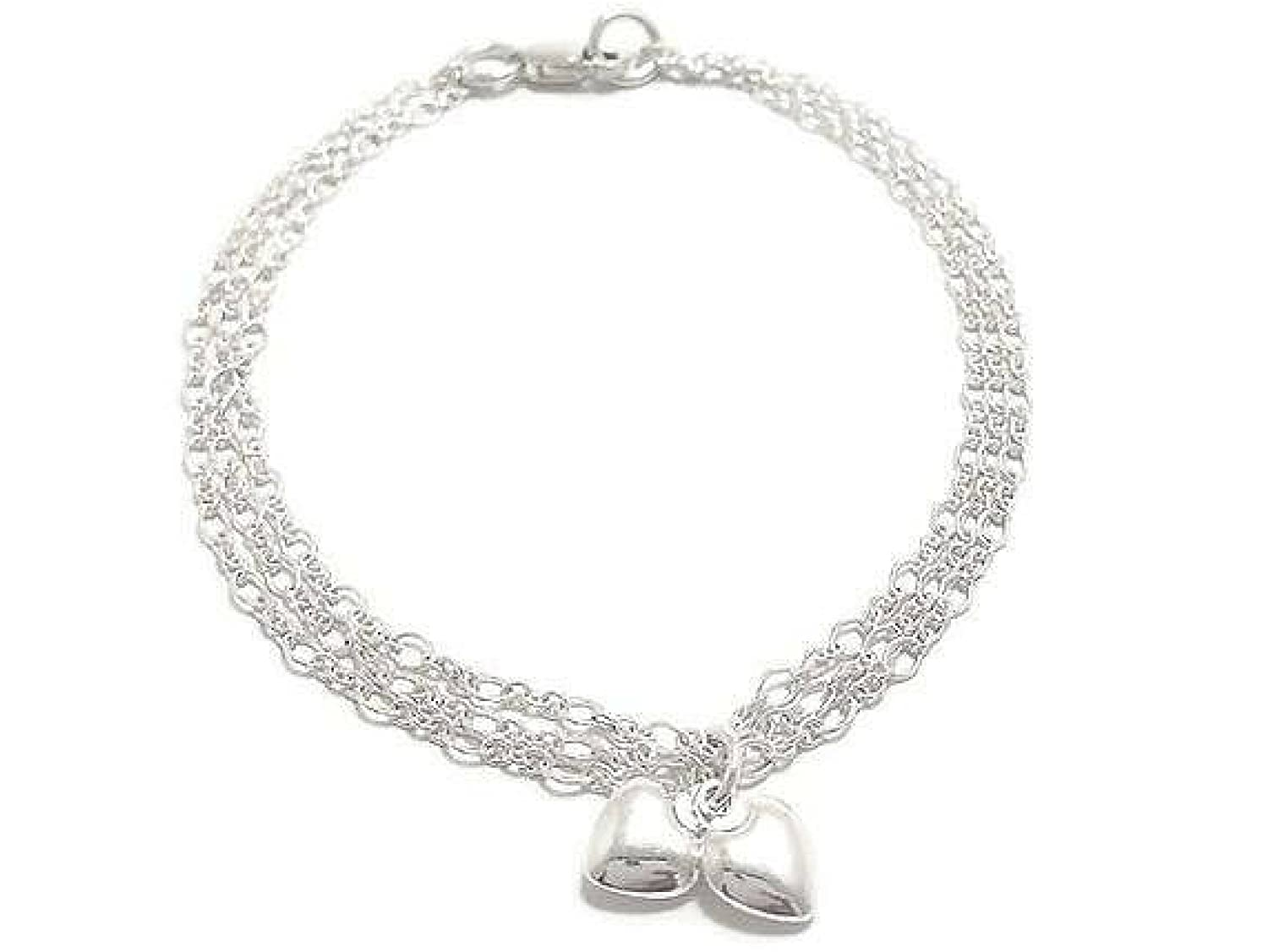.925 Sterling Silver Double Heart Charm Pendant