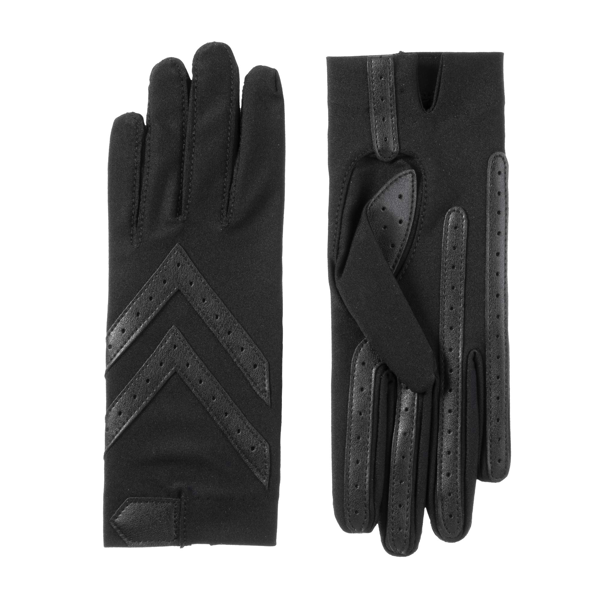 isotoner Women's Spandex Stretch Shortie Cold Weather Gloves with Leather Palms and Chevron Details, smartDRI Black, Large/X-Large by isotoner