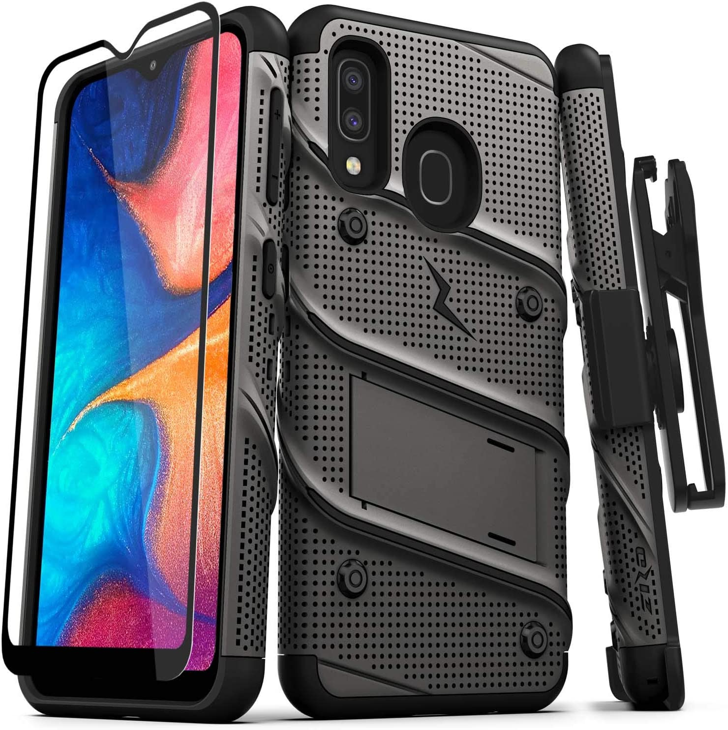 ZIZO Bolt Series for Samsung Galaxy A20 Case | Heavy-Duty Military-Grade Drop Protection w/Kickstand Included Belt Clip Holster Tempered Glass Lanyard Galaxy A50 - Metal Gray