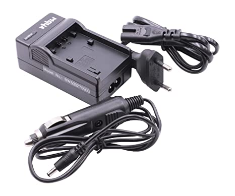 Set de Accesorios, Cable, estación de Carga, Cargador para la Red eléctrica y el Coche Apto para batería Sony NP-FP/NP-FH DCR-DVD450, etc