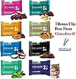 Square bar Organic protein bar, All variety! pack of 8 + 1 Bonus clip from Glutenfree4U