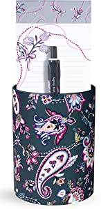 Vera Bradley Pen Cup and Notepad Office Gift Set, Includes Desktop Organizer, Lined List Pad, and Black Ink Ballpoint Pen, Felicity Paisley