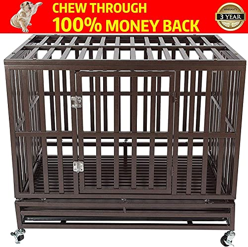 Gelinzon Heavy Duty Dog Cage Crate Kennel Playpen Large Strong Metal for Large Dogs and Pets, Easy to Assemble with Patent Lock and Four Lockable Wheels, 42