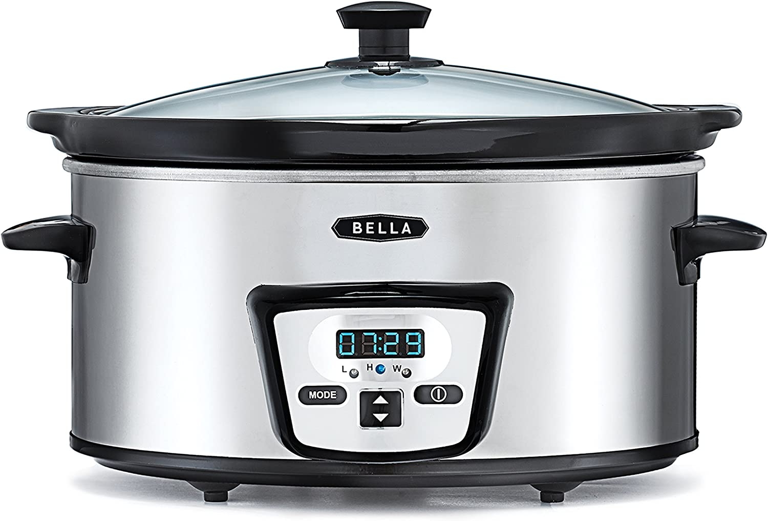 BELLA 13973 5 Quart Programmable Slow Cooker, Polished Stainless Steel