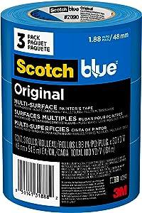 Scotch Painter's Tape 2090-48EVP ScotchBlue Painter's Tape, Multi-Use, 1.88-Inch by 60-Yard, 3 Rolls, Width, Blue, 3 Pack
