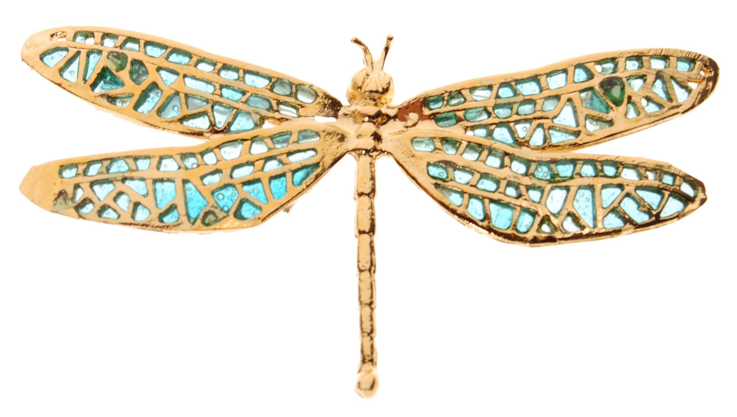 L. Erickson Damsel Fly Enamel Brooch - Aqua/Gold