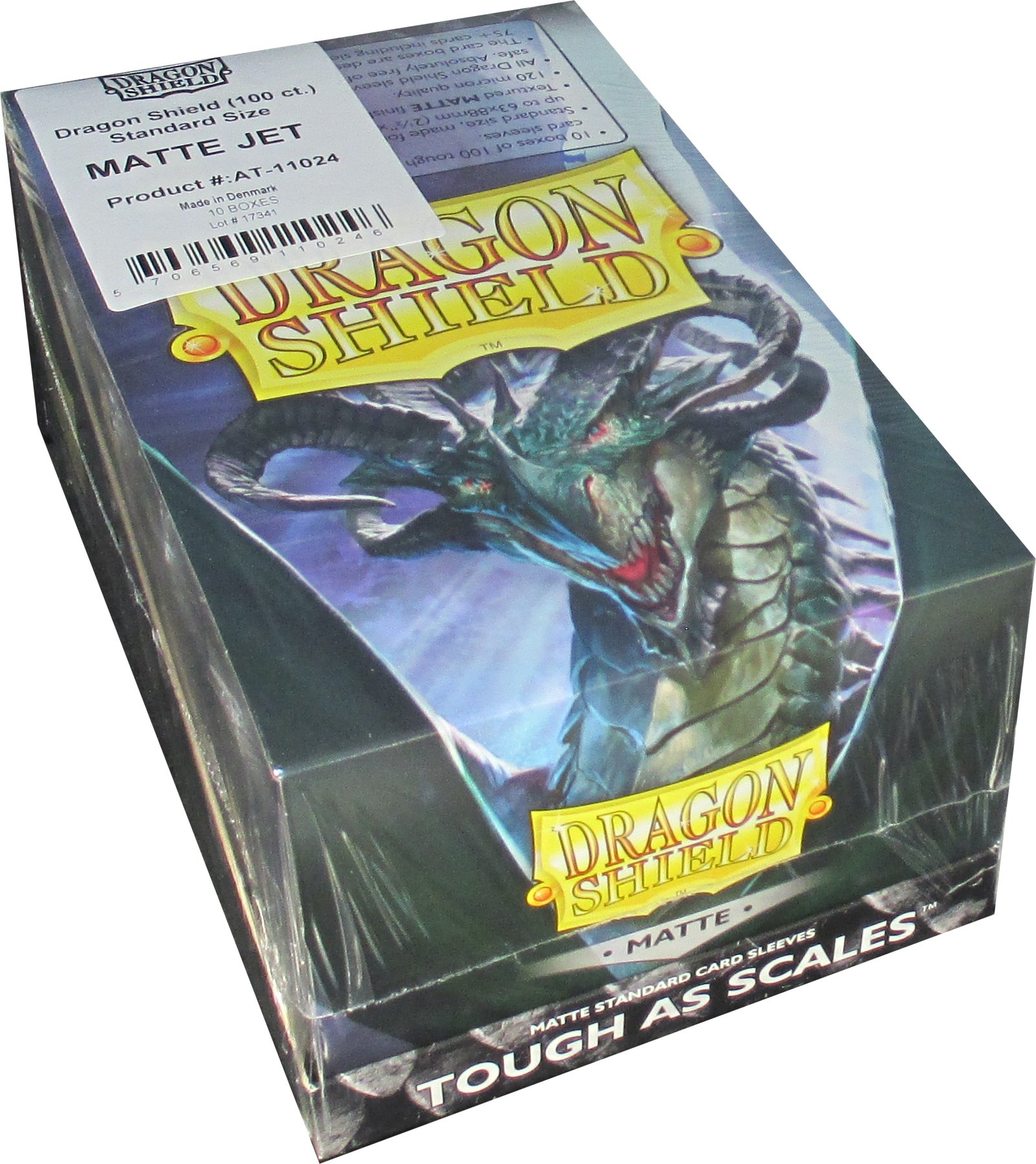 Dragon Shield Matte Jet Standard Size Card Sleeves Display Box [10 Packs]