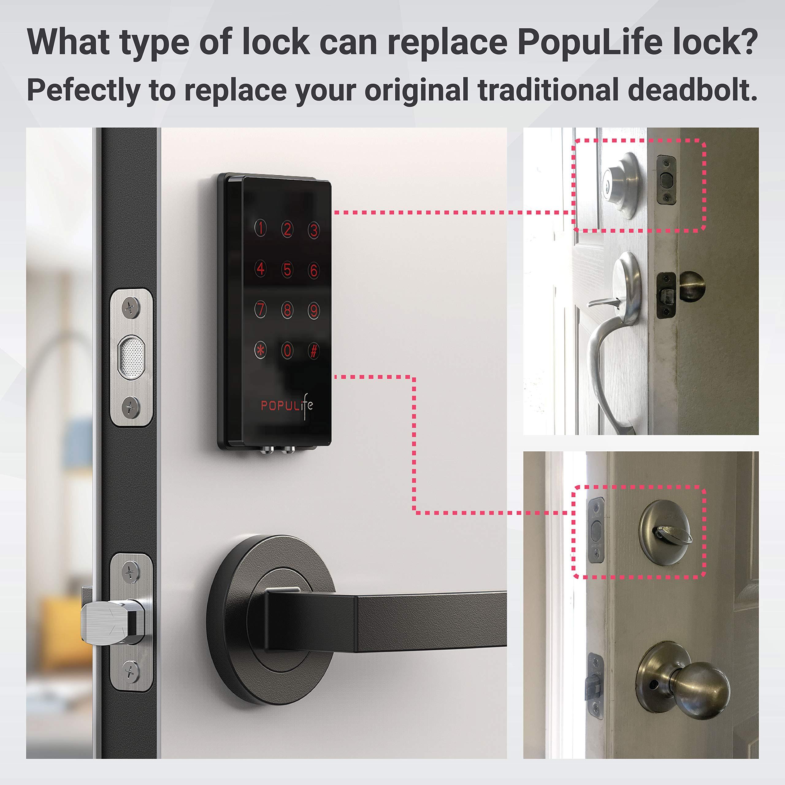 PopuLife Smart Lock Door, Keyless Smart Lock App Enable Pin Code Unlocking, Bluetooth Deadbolt, Auto-Lock Feature, Only Compatible with Wooden Door, Left Door, Right Door by PopuLife (Image #7)