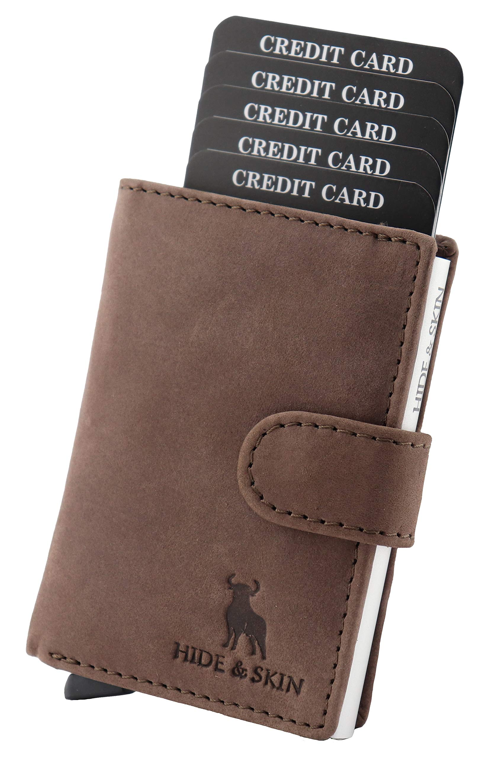 HIDE & SKIN Unisex Leather RFID Blocking Card Holder (Brown) product image