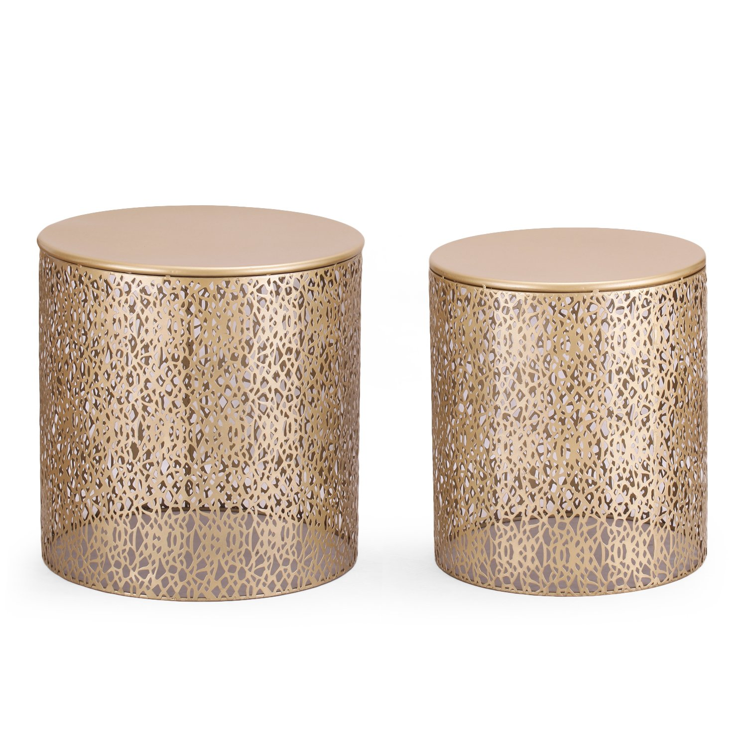 Adeco Luxury Modern Golden Accent Metal Coffee Nesting Round Side End Table, Set of 2 by Adeco