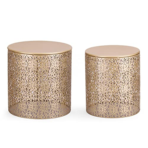 Adeco Luxury Modern Golden Accent Metal Coffee Nesting Round Side End Table, Set of 2