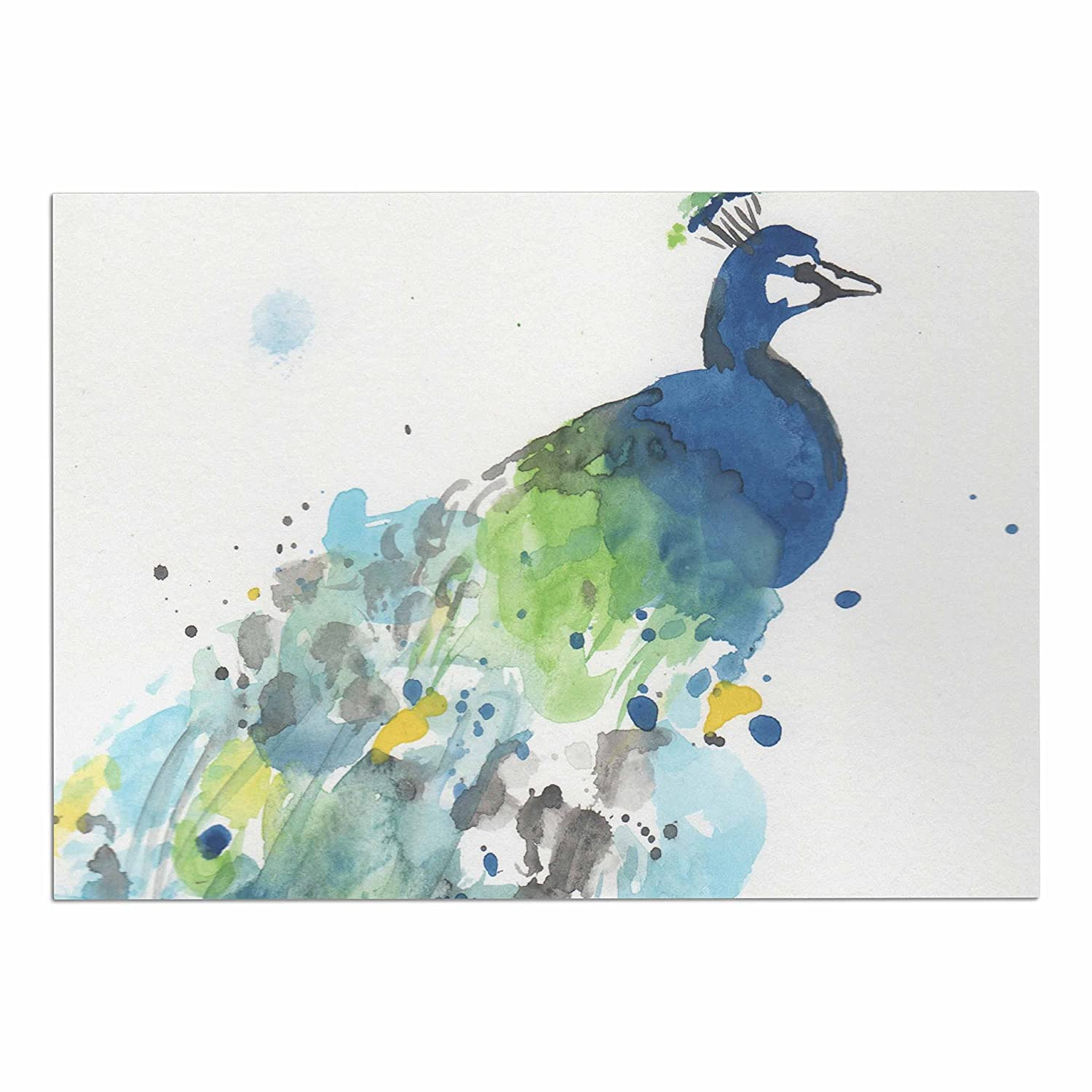 KESS InHouse RB3003ADM02 Rebecca Bender Abstract Watercolor Peacock bluee Teal Dog Place Mat, 24  x 15