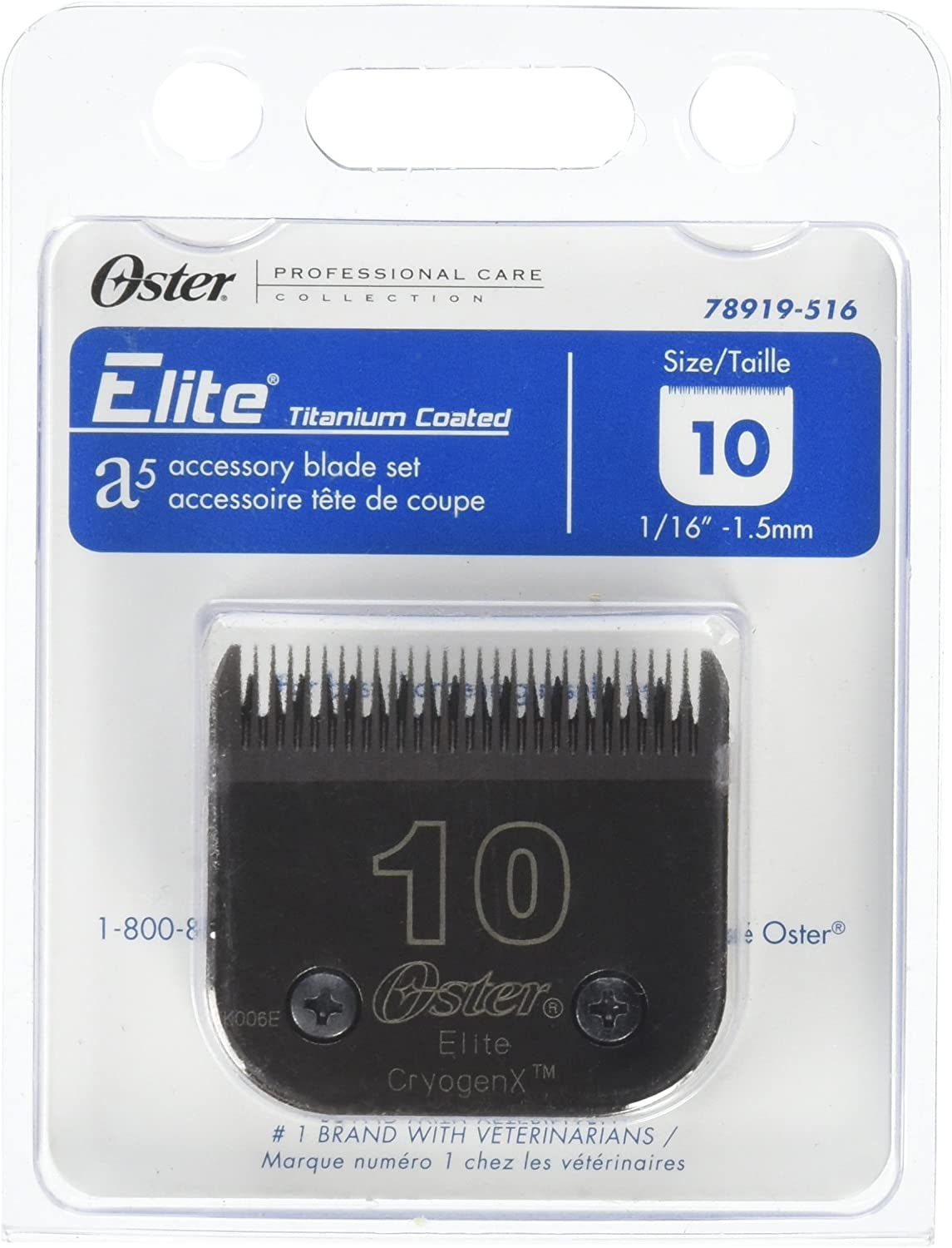 Oster Elite CryogenX Professional Animal Clipper Blade, Size 10 (078919-516-005)