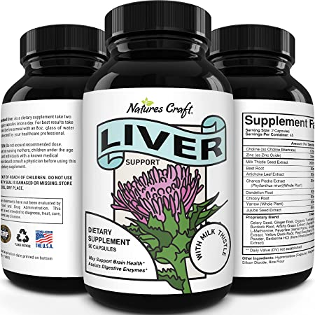 Liver Supplements with Milk Thistle - Artichoke - Dandelion Root Support Healthy Liver Function for Men and Women Natural Detox Cleanse Capsules Boost Immune System Relief (90 Count)