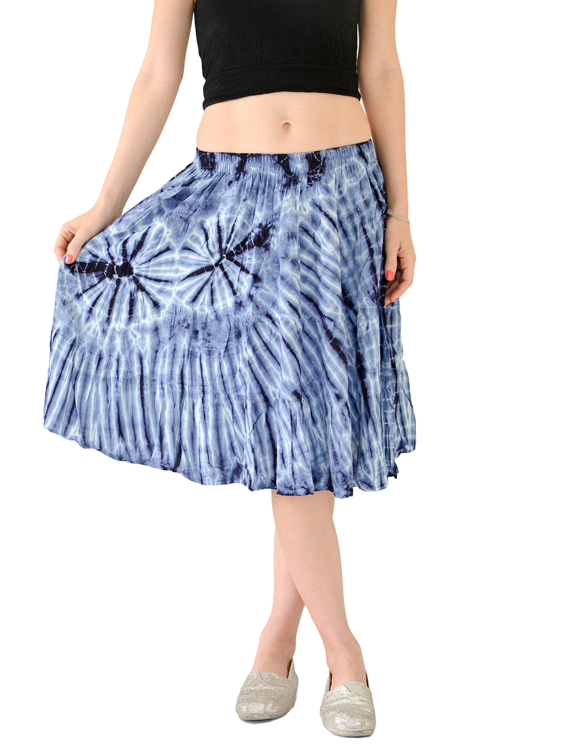 Orient Trail Women's Hippie Bohemian Boho Tie Dye Knee Length Mini Skirt M/L Dark Shibori Blue by Orient Trail (Image #1)