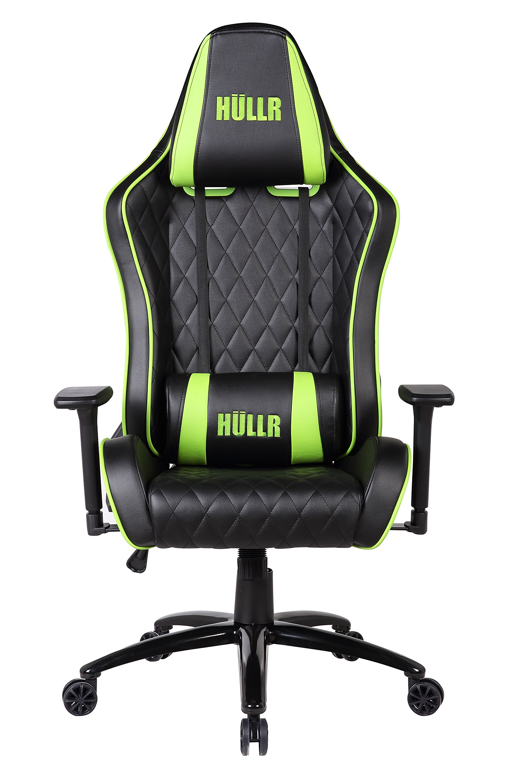 HULLR Gaming Racing Computer Office Chair, Executive High Back Diamond Quilted Ergonomic Reclining Design with Detachable Lumbar Backrest & Headrest (PC PS4 XBOX Laptop) (Black/Green)