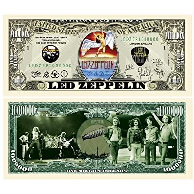 American Art Classics Pack of 5 - Led Zeppelin Limited Edition Collectible Novelty Million Dollar Bill - Best Gift for Zep Fans Picture of Band On Front and Back: Toys & Games