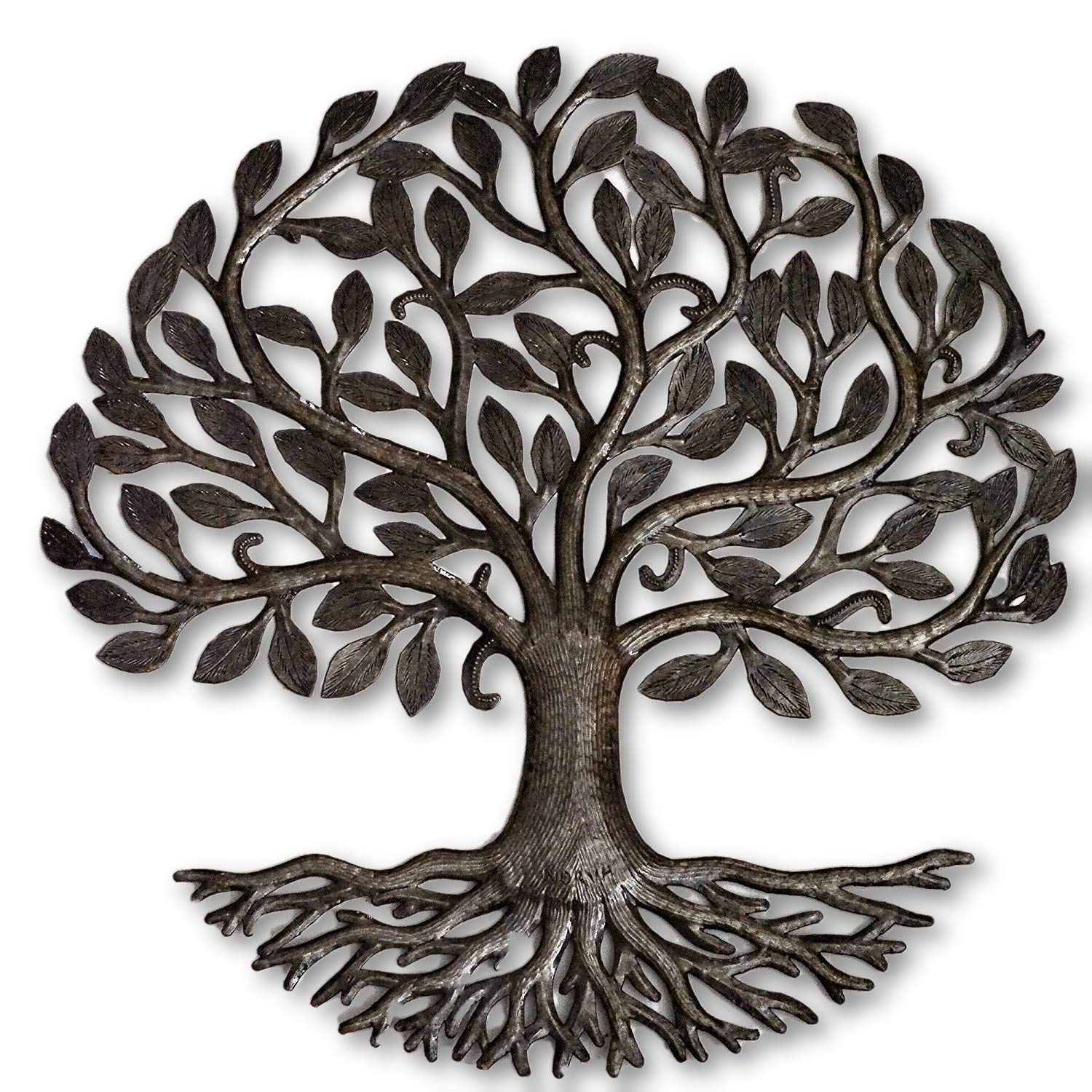 Metal Tree of Life Roots, Large Tree, Rustic Farmhouse Decor, Nature Inspired, Handmade in Haiti, 23 In. x 23 In., Fair Trade Federation Certified by it's cactus - metal art haiti