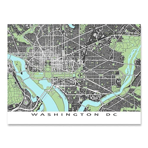 image regarding Washington Dc Printable Map referred to as Washington DC Map Print, District of Columbia, United states Town Road Artwork