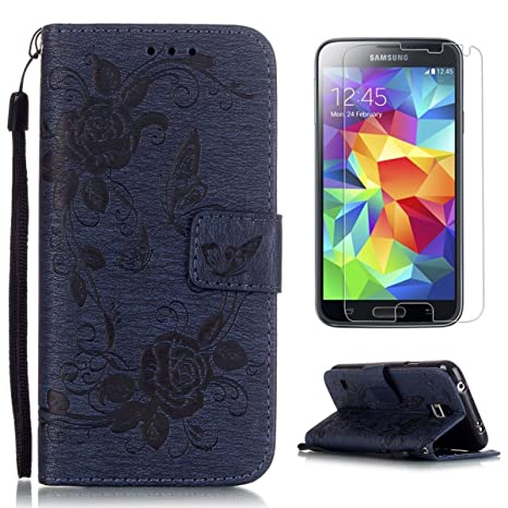 Compatible For Samsung Galaxy S5 Wallet Funda,Carcasa PU Leather Cuero Cierre Magnético Billetera Con Tapa Libro Tarjetas Para Estilo Del Libro ...