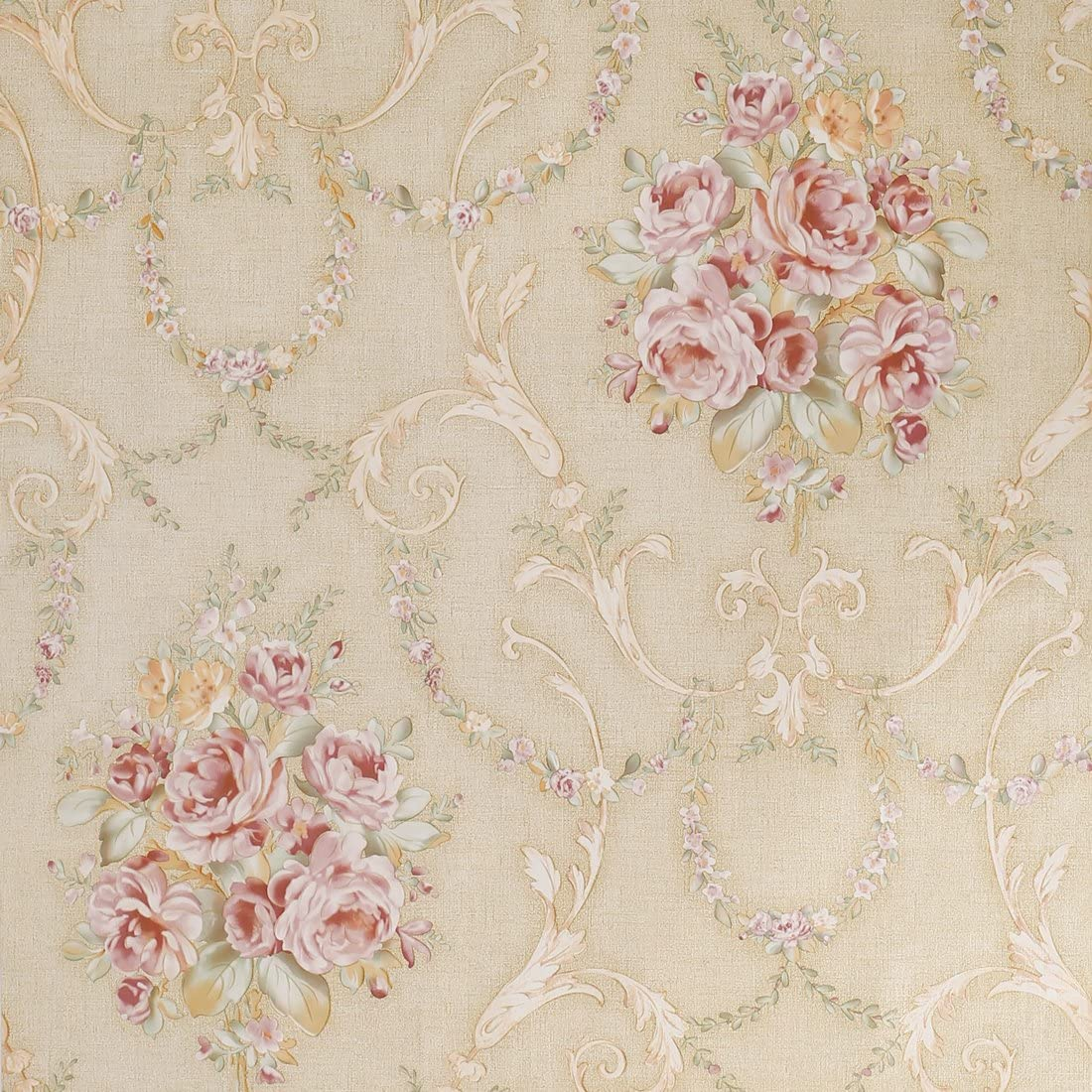 Amazon Com Sicohome Wallpaper 11 Yards Beige Floral Peel Stick