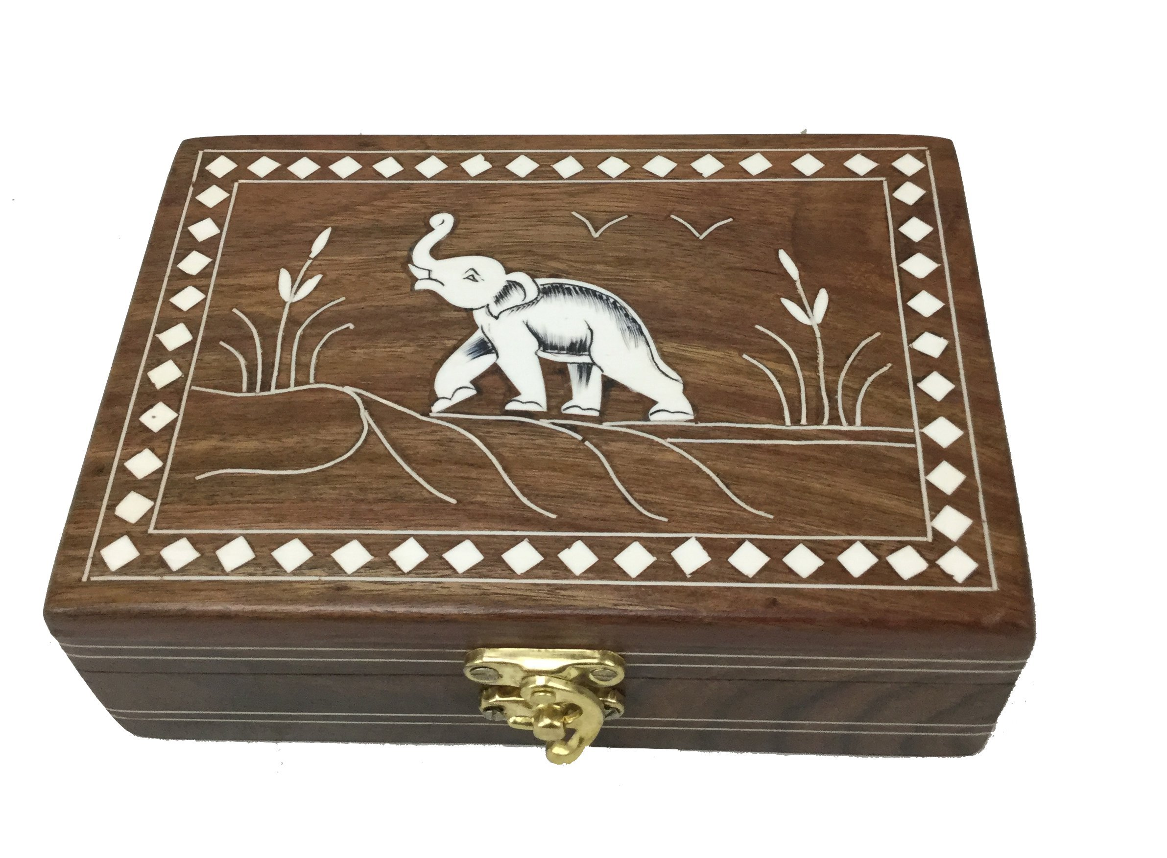 SouvNear Dancing Elephant Wooden Storage Box - Handmade Jewelry Box / Decorative Box / Treasure Chest / Keepsake Box for Women and Men from India