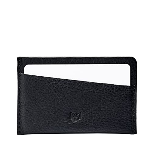 d5b9f8feb628 Amazon.com: Capra Leather Card Holder for Men, Black Business Credit Cards  Case, Slim Designer Minimalist Personalized Wallet, Money Pouch.
