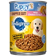 Pedigree Puppy Chopped Ground Dinner With Chicken & Beef Adult Canned Wet Dog Food, (12) 13.2 Oz. Cans