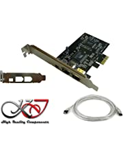 KALEA-INFORMATIQUE - Carte Controleur PCI Express (PCIE) FireWire 400 IEEE1394a 3 Ports - Chipset Via - Equerres Low et High Profile - Cordon Ilink