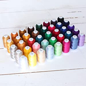 Threadart 40 Spool Polyester Embroidery Machine Thread Set Vibrant Colors | 500M Spools 40wt | For Brother Babylock Janome Singer Pfaff Bernina Machines - Includes Black & White - 4 Sets Available