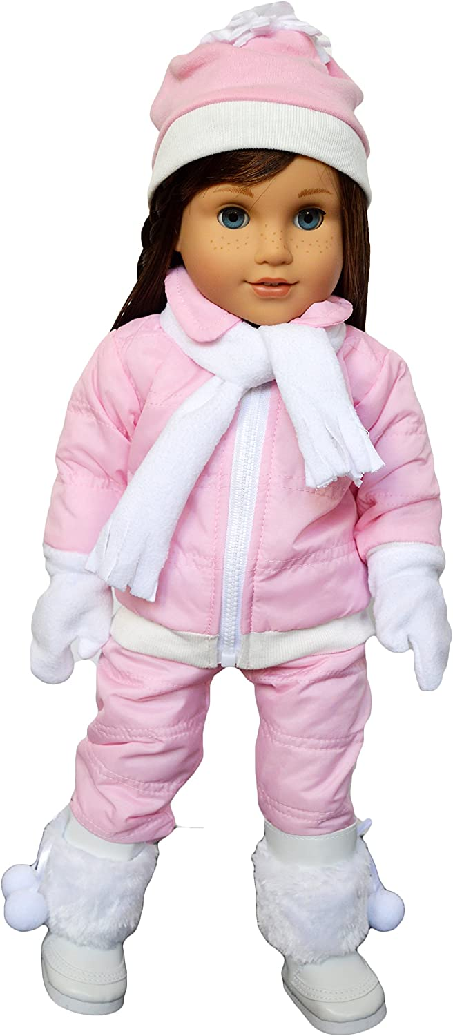 """Pink Snowsuit 4pc Set Fits 18/"""" American Girl Doll Clothes"""