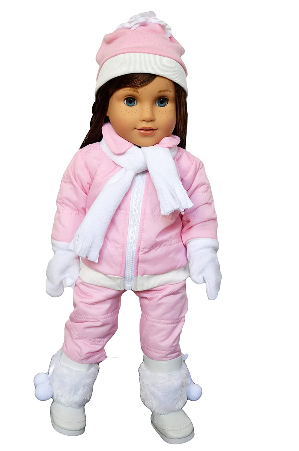 3cb86a106f080c Amazon.com: Brittany's My Pink Snowsuit Compatible with American Girl  Dolls- 18 inch Doll Clothes-Includes Snow Pants-Jacket-Scarf-Hat-Mittens  and White ...