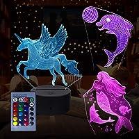 3D Animal Night Light, Lámpara de ilusión 3D