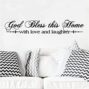 God Bless This Home with Love and Laughter (M) Wall Saying Vinyl Lettering Home Decor Decal Stickers Quotes