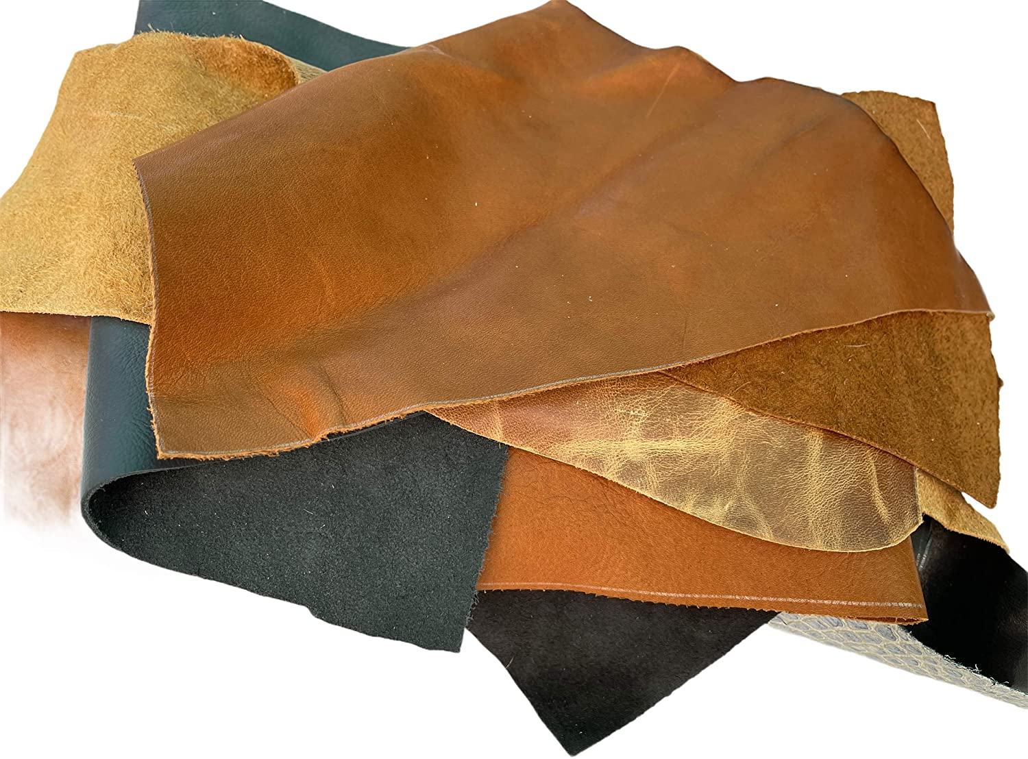 Piece of golden cowhide leather grained leather