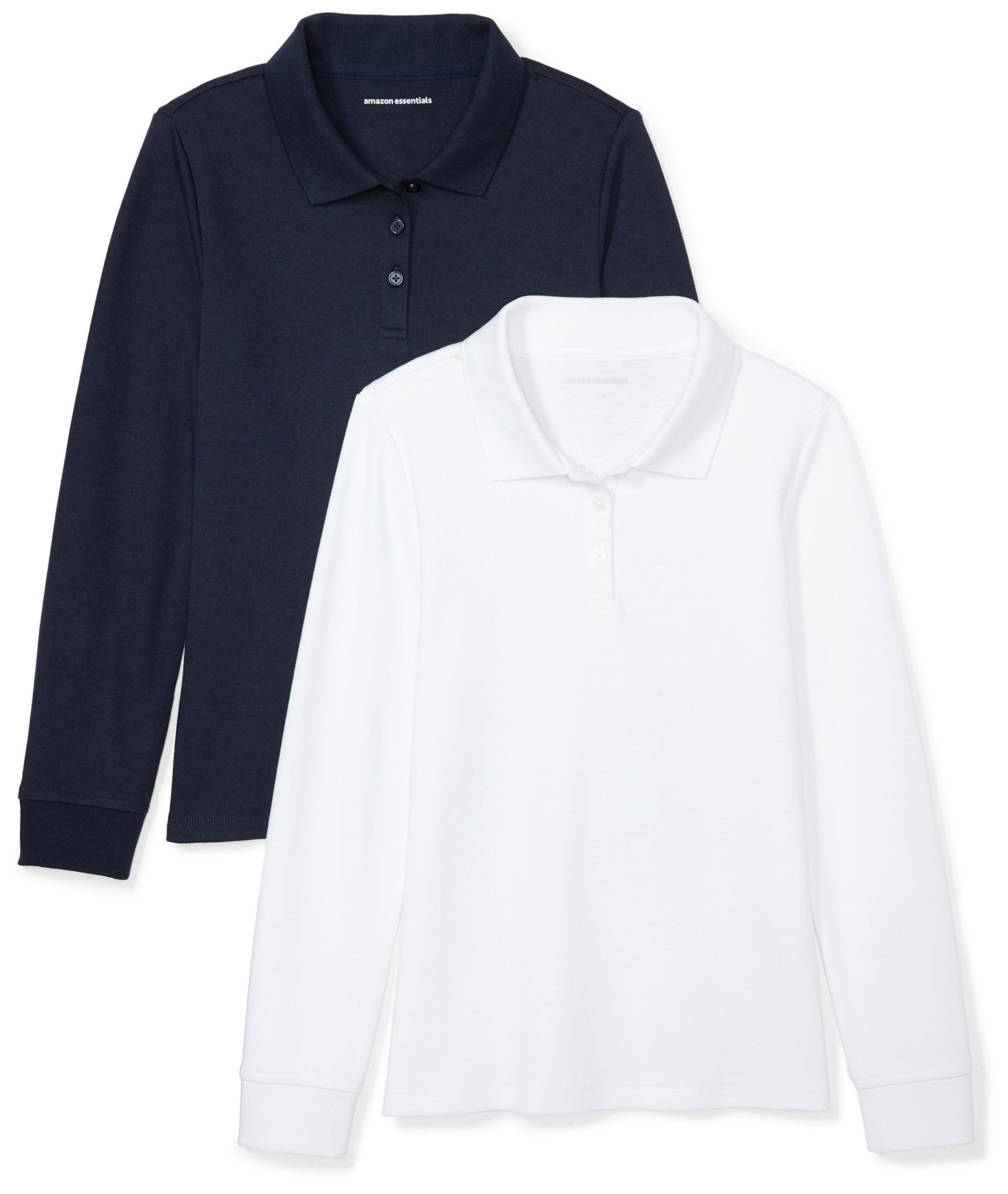 Amazon Essentials Girls' 2-Pack Long-Sleeve Interlock Polo Shirt, Navy/White, M (8) by Amazon Essentials