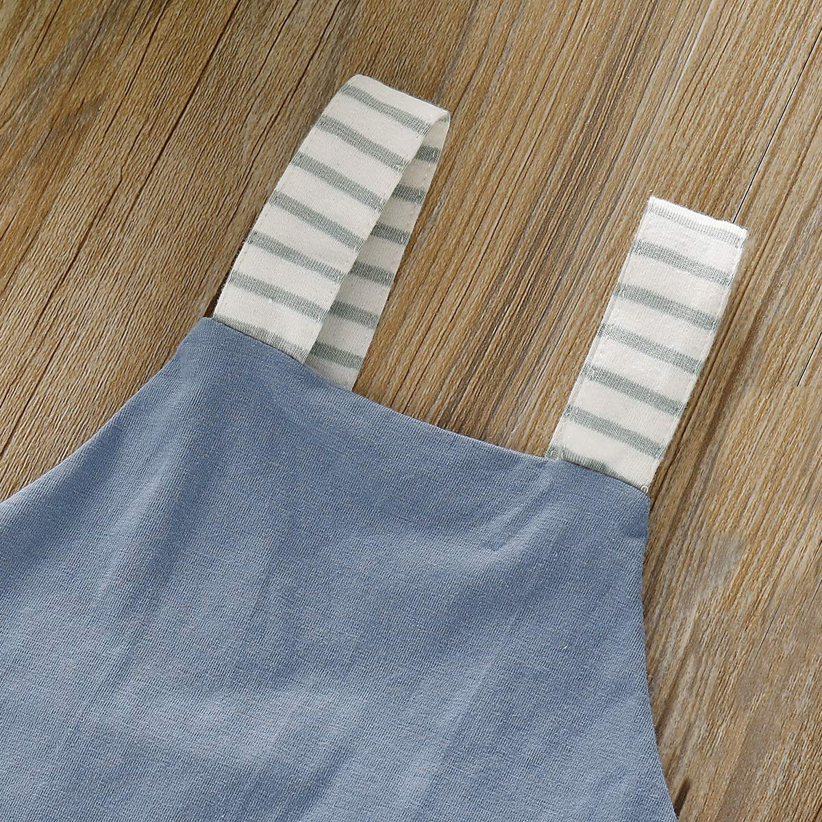 Pudcoco Newborn Baby Boys Girls Striped Straps Overall Shorts Cross Back Sleeveless Romper Bodysuit