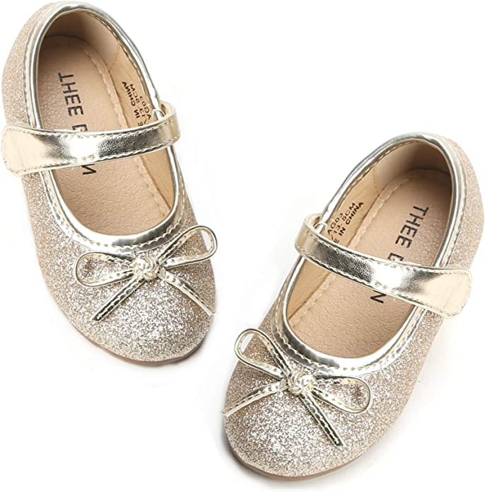 IINFINE Mary Jane Front Bow Elastic Strap Ballerina Flat Toddler//Little Girls Shoes
