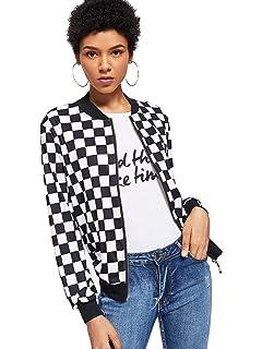 23b3b9e6 WDIRARA Women's Zip Front Plaid Print Long Sleeve Stand Collar Casual Jacket