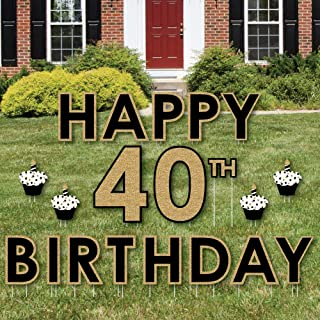 product image for Big Dot of Happiness Adult 40th Birthday - Gold - Yard Sign Outdoor Lawn Decorations - Happy Birthday Yard Signs
