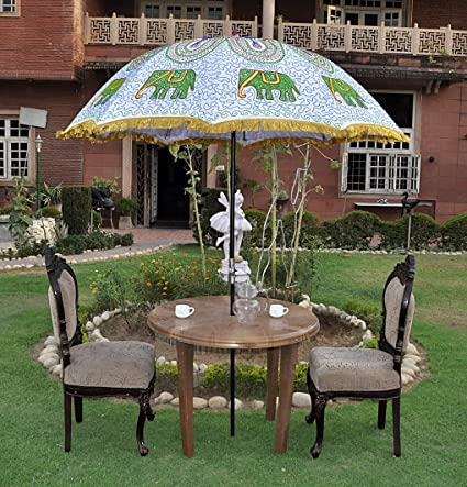 Lalhaveli Sun Protection Garden Parasol Embroidered Umbrella Large 52 X 72 Inches