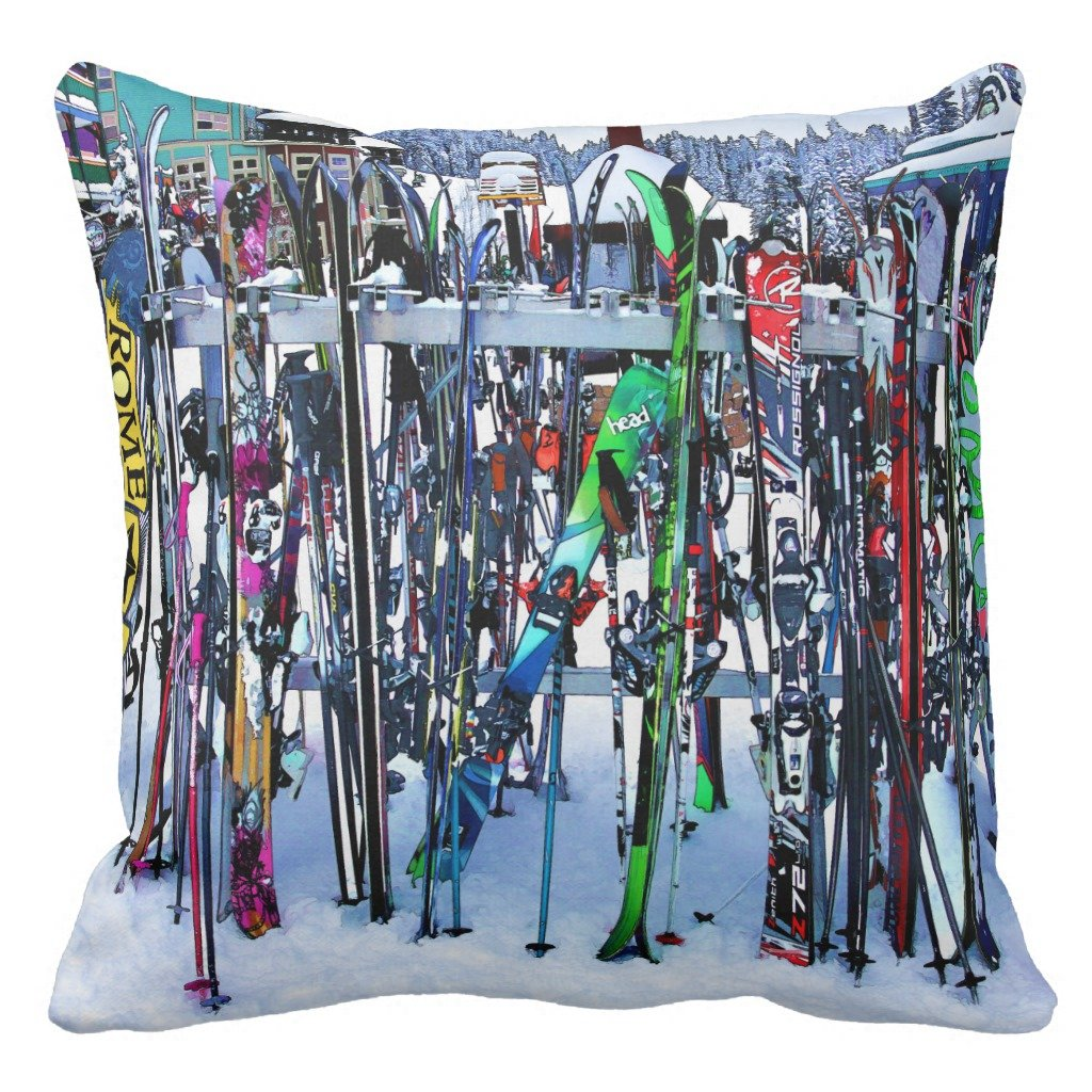 Zazzle The Ski Party – スキーと極Throw枕 20