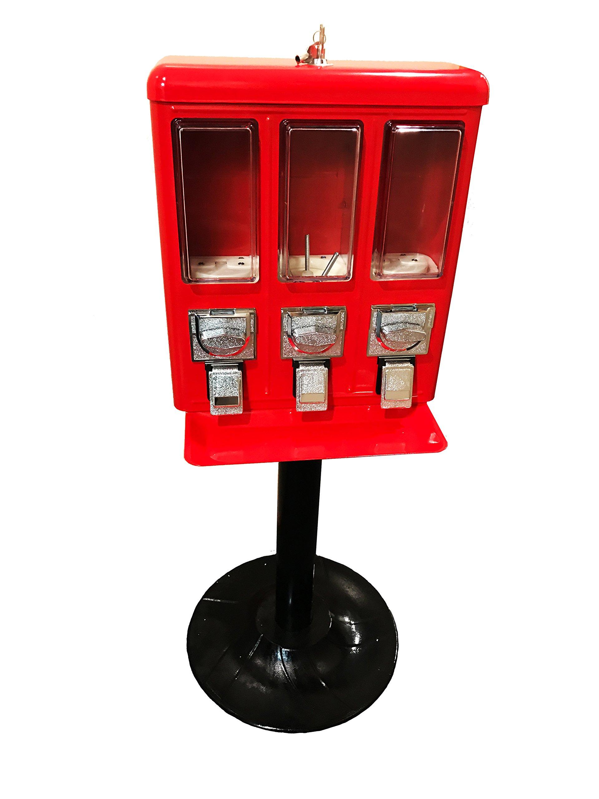 Metal Triple Bulk Vending Machine Candy/Gumball Dispenser